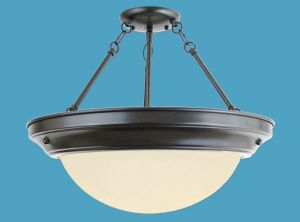 Semi-flush Opal Chandelier, PL Ballast with Ring