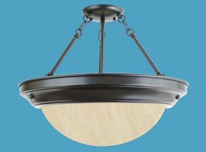 Semi-flush Alabaster Chandelier,Ring PL Ballast