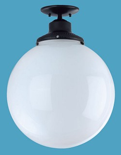 Large  White Polycarbonate Necked Globe Flush