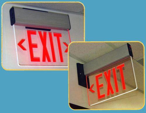 surface mount edge lit led exit sign backup batt