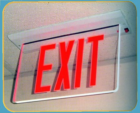 Recessed Mount Edge Lit LED Exit Signs with Batter
