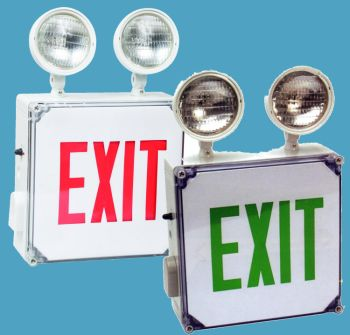 Wet Location LED Exit Sign and Combo Unit, Battery