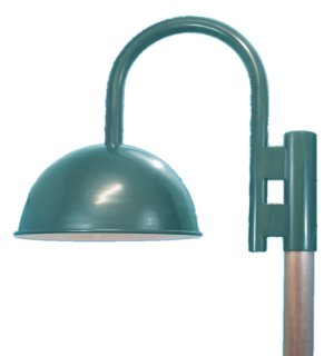 "Dome Shade Post Light, Heavy Gauge ""J"" Offset Arm"
