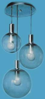 3 Clear Globes Pendant with Round Canopy