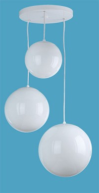 3 White Globe Pendant on Round Canopy