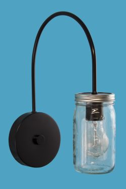 Indoor Mason Jar on  Gooseneck  J Arm