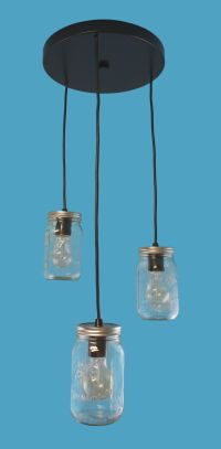3 Mason Jars Pendants on Round Canopy