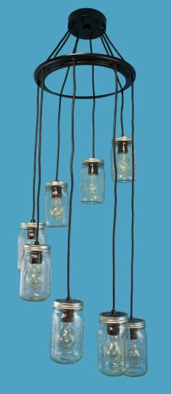 8 Mason Jars Pendants on a Spreader