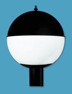Acrylic White Globe with Metal Top Post Light