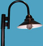 Cone Shade with Wire Guard, Gooseneck Post Light