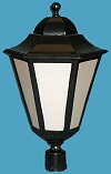 1 x 32 Watts PL Ballast 6 Panel Cast Aluminum lantern Post Light